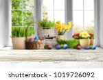 table background and easter... | Shutterstock . vector #1019726092