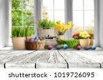 table background and easter... | Shutterstock . vector #1019726095