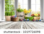 table background and easter... | Shutterstock . vector #1019726098