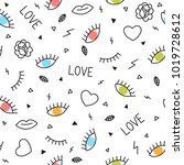 doodle seamless pattern with... | Shutterstock .eps vector #1019728612
