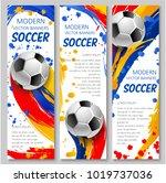 soccer ball sporting banner for ... | Shutterstock .eps vector #1019737036