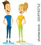 slim sport man and woman... | Shutterstock .eps vector #1019742712