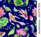 seamless pattern of lotus... | Shutterstock . vector #1019747335