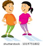 fat  man and woman with... | Shutterstock .eps vector #1019751802