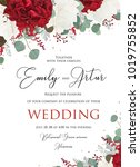 wedding floral invite ... | Shutterstock .eps vector #1019755852