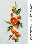 fresh  oranges with leaves on... | Shutterstock . vector #1019758606