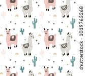 seamless pattern with lama ... | Shutterstock .eps vector #1019763268