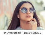 sunglasses sky view reflection. ... | Shutterstock . vector #1019768332