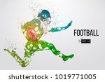 silhouette of a football player.... | Shutterstock .eps vector #1019771005