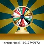spinning fortune wheel  lucky... | Shutterstock .eps vector #1019790172