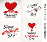 happy valentines day typography ... | Shutterstock .eps vector #1019812552