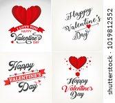 happy valentines day typography ... | Shutterstock .eps vector #1019812552