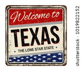 welcome totexas vintage rusty... | Shutterstock .eps vector #1019822152