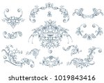 floral decorative vector... | Shutterstock .eps vector #1019843416