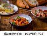mediterranean food assorted on... | Shutterstock . vector #1019854408