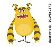 angry cool cartoon fat monster. ... | Shutterstock .eps vector #1019862676