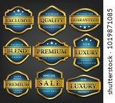luxury premium golden labels... | Shutterstock .eps vector #1019871085