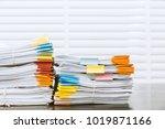 paperwork pile print document... | Shutterstock . vector #1019871166