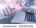 businessman pressing button... | Shutterstock . vector #1019874346