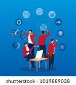 businessmen who handle multiple ... | Shutterstock .eps vector #1019889028
