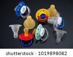 nine cute baby pacifiers...   Shutterstock . vector #1019898082
