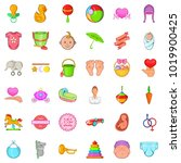 mom icons set. cartoon set of... | Shutterstock .eps vector #1019900425