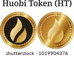 set of physical golden coin...   Shutterstock .eps vector #1019904376