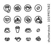 coffee labels and icons set.... | Shutterstock .eps vector #1019907682