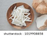 raw jicama  mexican turnip ...   Shutterstock . vector #1019908858