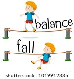 opposite words for balance and... | Shutterstock .eps vector #1019912335