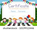 certificate template with... | Shutterstock .eps vector #1019912446