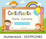 certificate template with three ... | Shutterstock .eps vector #1019912482