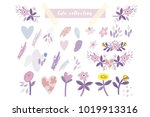 vector set of cute hand drawn... | Shutterstock .eps vector #1019913316