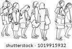 vector art drawing of people... | Shutterstock .eps vector #1019915932