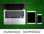 top view of laptop with... | Shutterstock . vector #1019920222