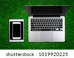 top view of laptop with... | Shutterstock . vector #1019920225
