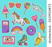 hand drawn fashion patch badges ... | Shutterstock .eps vector #1019924872