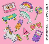 hand drawn fashion patch badges ... | Shutterstock .eps vector #1019924875