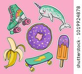 hand drawn fashion patch badges ... | Shutterstock .eps vector #1019924878