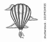 hand drawn air balloon vector ... | Shutterstock .eps vector #1019924935