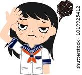 girl's japanese student sailor... | Shutterstock .eps vector #1019925412