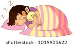 little kid in bed with bunny... | Shutterstock .eps vector #1019925622