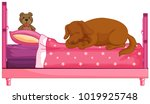 dog slepping on pink bed ... | Shutterstock .eps vector #1019925748