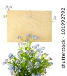Wood Sign with Flowers / empty board for your text /  isolated on a white - stock photo