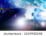 container truck and shipping... | Shutterstock . vector #1019930248