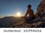 hiker meditate on beauty... | Shutterstock . vector #1019946316