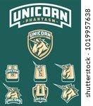 unicorn phantasm sport logo... | Shutterstock .eps vector #1019957638