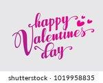 hand lettering happy valentines ...   Shutterstock .eps vector #1019958835