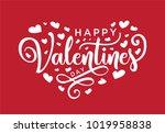 hand lettering happy valentines ...   Shutterstock .eps vector #1019958838