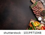 grilled vegetables and beef... | Shutterstock . vector #1019971048